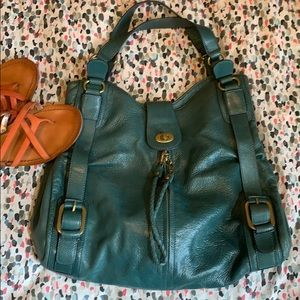 Gorgeous teal Hype leather boho bag